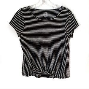 SO Black&White Striped Front Tie Shirt Size 16